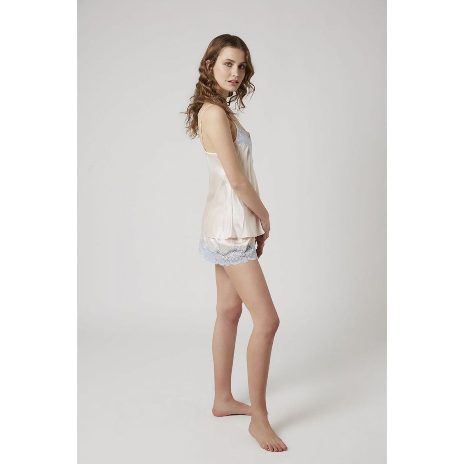Ginia Pure Silk Short with Contrasting Deep Leaver Lace