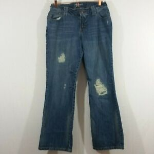 Lane-Bryant-Womens-Size-14-Destroyed-Distressed-Straight-Leg-Denim-Jeans