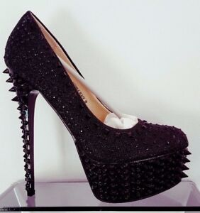 Image is loading BLACK-DIAMANTE-STUDDED-EMBELLISHED-PLATFORM-HIGH-HEELS- SPARKLY- d10a88f58153