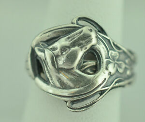 Horse Ring spoon horseshoe Good Luck band sterling silver women