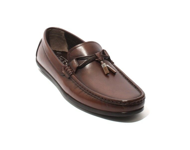 ROBERTO SERPENTINI 48252a Brown Leather Tassel Moccasins Loafers 45   US 12