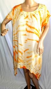 Jessica Taylor Women Plus Size 1x 2x 3x Gypsy Tie Dye Swing Tank Top Blouse Blue