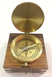 Nautical Solid Brass Working Pocket Compass Vintage Maritime Marine With Box