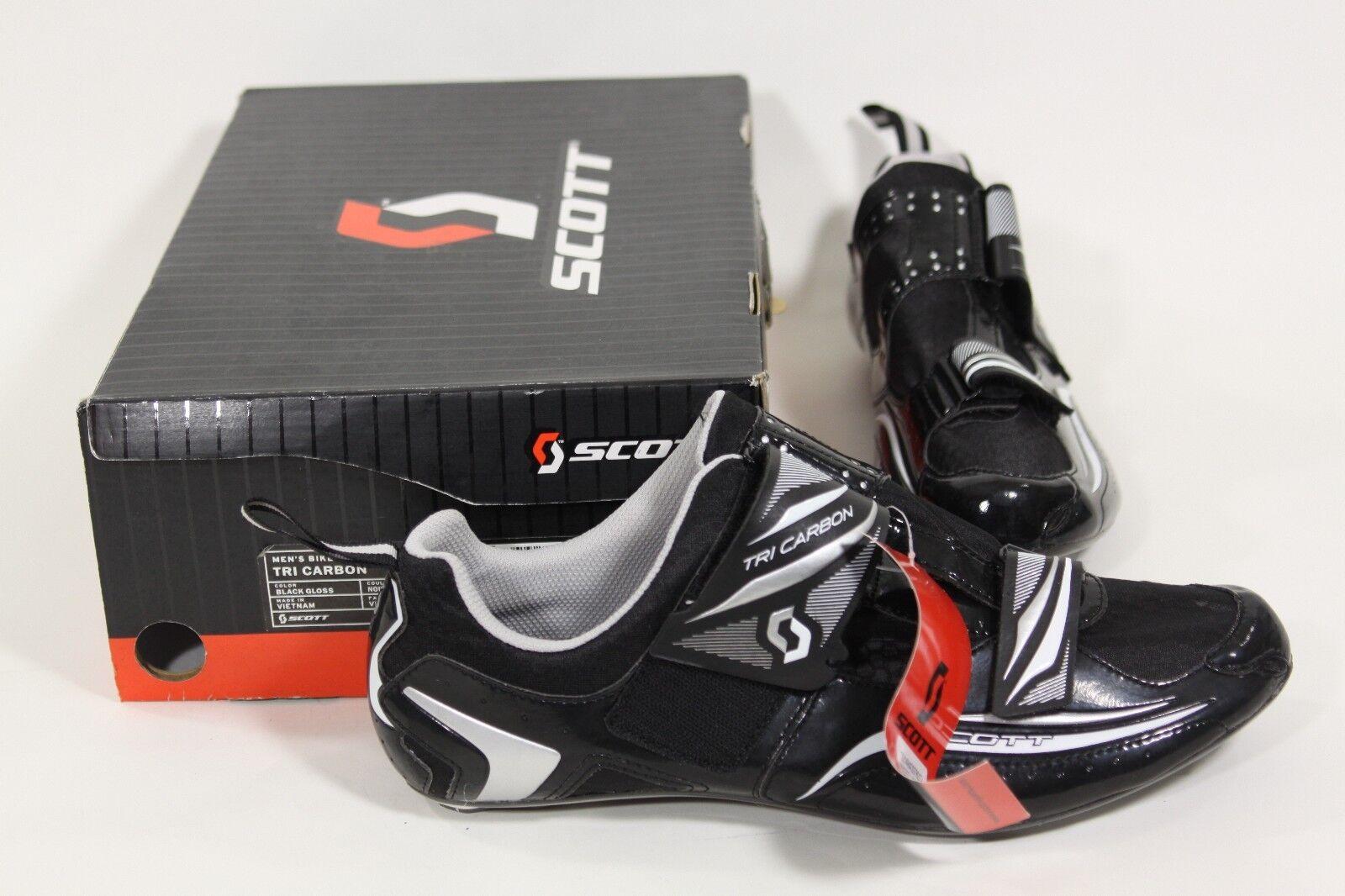 Scott Tri Carbono Hombre Triatlón Bicicleta Zapatos Negro, Slvr & blancoo Eu 46 o