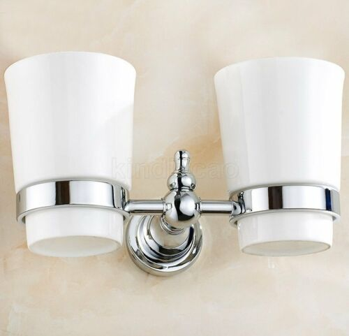 Polished Chrome Brass Wall Mount Bathroom Toothbrush Holder Dual Two Cups Kba908
