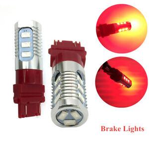 2PCS DC 12V 3157 Red LED Stop Brake Flash Strobe Rear Light Bulbs Reversing Lamp