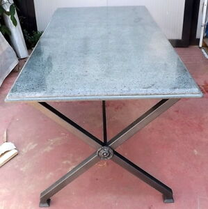 Tavolo da in ferro battuto e granito cm180x90x80h artiginato italia interno est ebay - Tavolo ferro battuto ...