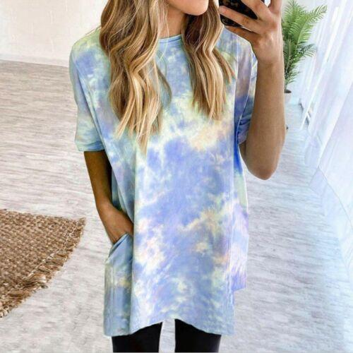 Women/'s Tie-Dye Crew-Neck T-Shirt Tee Tops Plus Size Ladies Short Summer Blouse