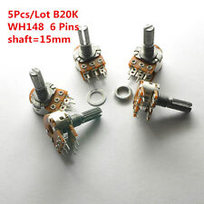 5Pcs B20K 20K WH148 15mm 6 Pin Dual Stereo Linear Potentiometer Double Rotary