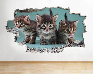 Pegatinas-de-pared-gatos-gatitos-mascotas-Animal-Lindo-Amor-destrozada-Calcomania-3D-Art