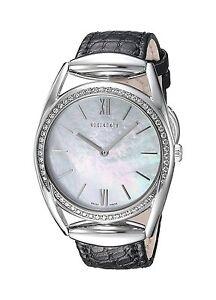 40f647005a8 Gucci Horsebit Small 52 Diamond 0.34 ct. White Pearl Dial Leather ...