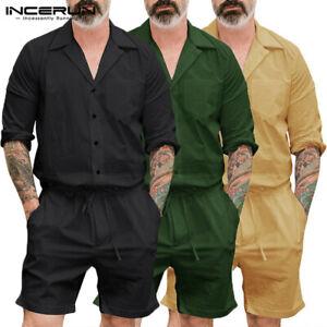 Herren-Hose-Overall-Jumpsuit-Cargohose-Kurz-Rompers-Shorts-Freizeit-Playsuits