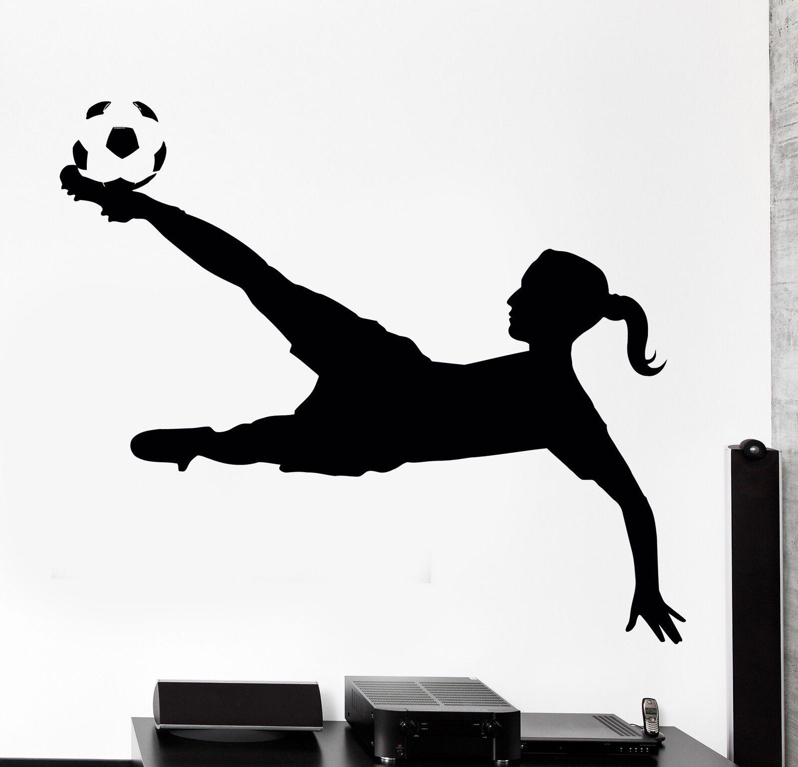 Wand Decal Football Soccer Mädchen Sport Home Interior Decor z4042