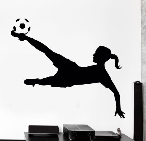 Wall Decal Football Soccer Girl Sport Home Interior Decor z4042