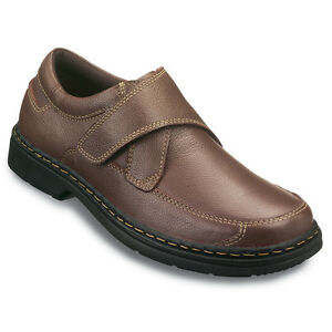 mens real leather wide fit velcro shoes  ebay
