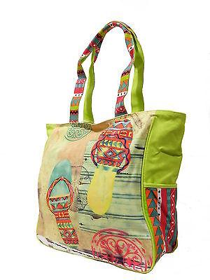 LUXUS Designer Strandtasche Beachbag Canvas Schultertasche Tasche Flip Flops NEU