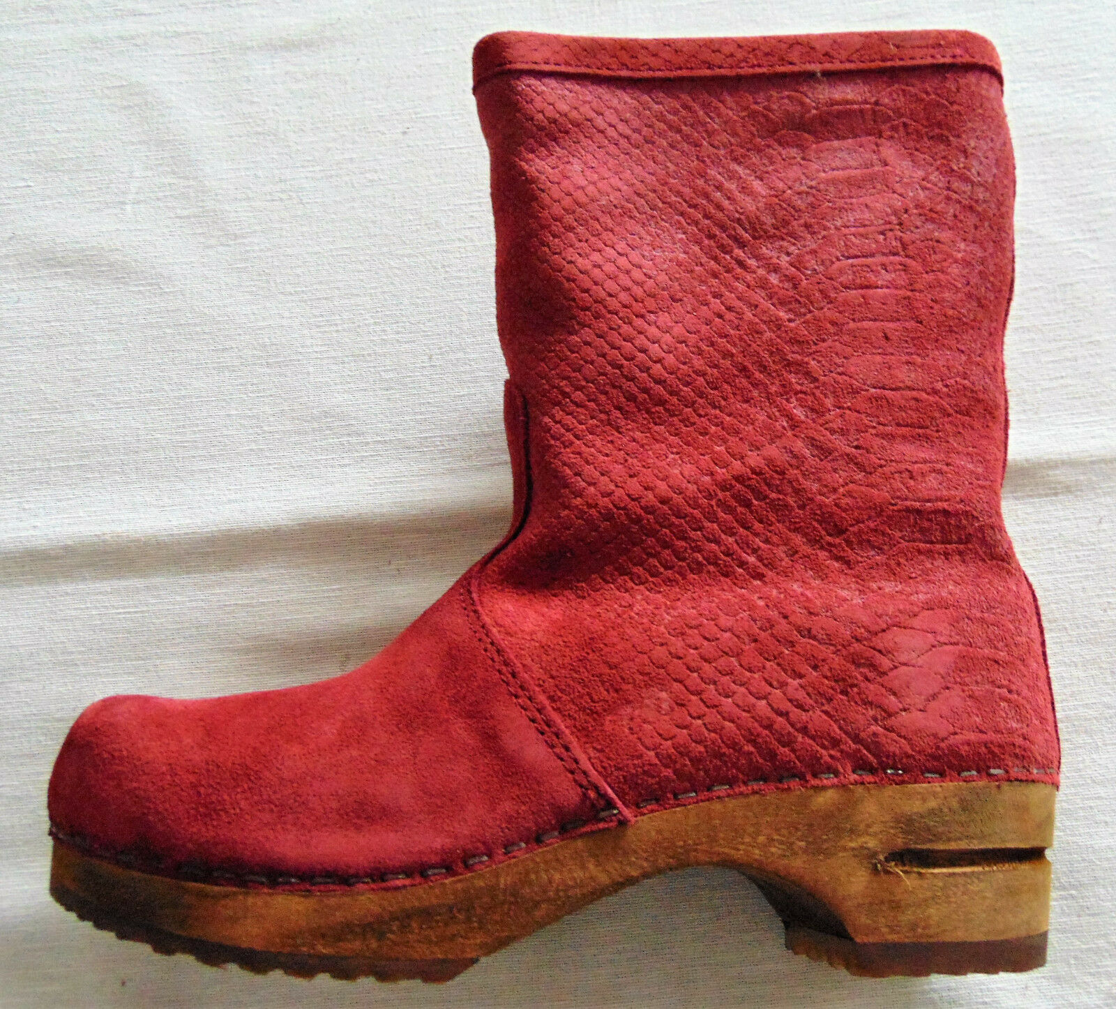 SANITA - - Nelly Clogs - Stiefel - - Rot - Farbe 46 - Velourleder - 8474d1