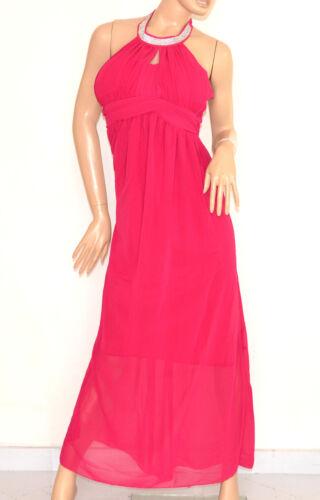 E130 Abito Cerimonia Elegante Strass Rosa Dress Lungo Party Seta Fucsia Vestito H29EDYeWI