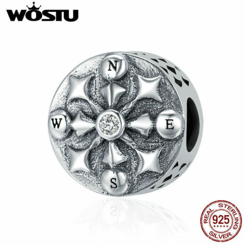 Wostu Vintage Compass Charms 925 Sterling Silver Fit For European Charms Beads