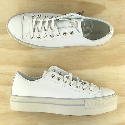 Converse Chuck Taylor All Star Platform Ox White Leather Shoes 558914C Size 11 | eBay