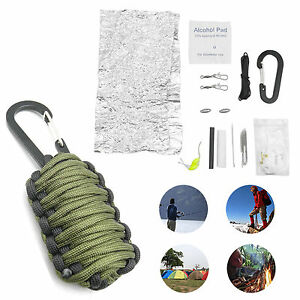 Outdoor survival emergency camping hiking fishing paracord for Backpacking fishing kit