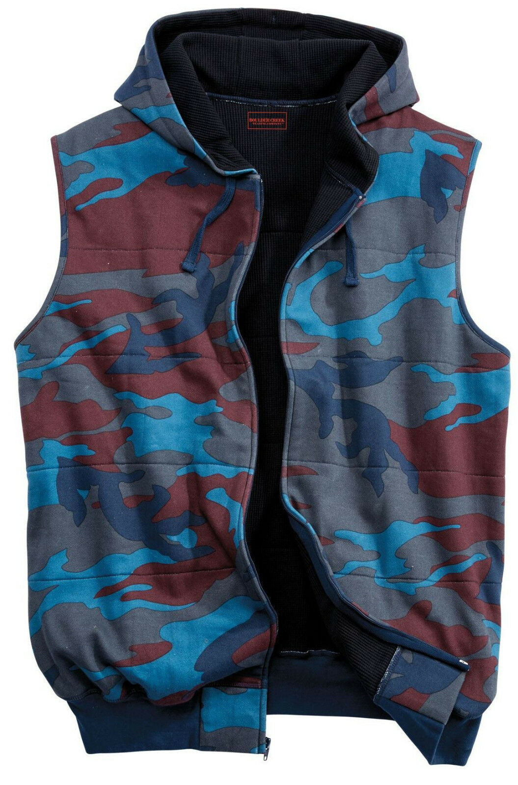 BOULDER CREEK KING SIZE HOODED THERMAL LINED FLEECE CAMO VEST MENS 3X TALL 3XLT