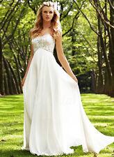 Strapless Sweetheart Beaded Empire Waist Chiffon Wedding Dress Plus Size