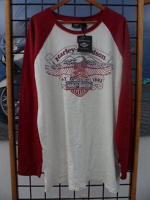NOS Harley Davidson Mens Freedom Machine Eagle Raglan T-Shirt 96471-13VM