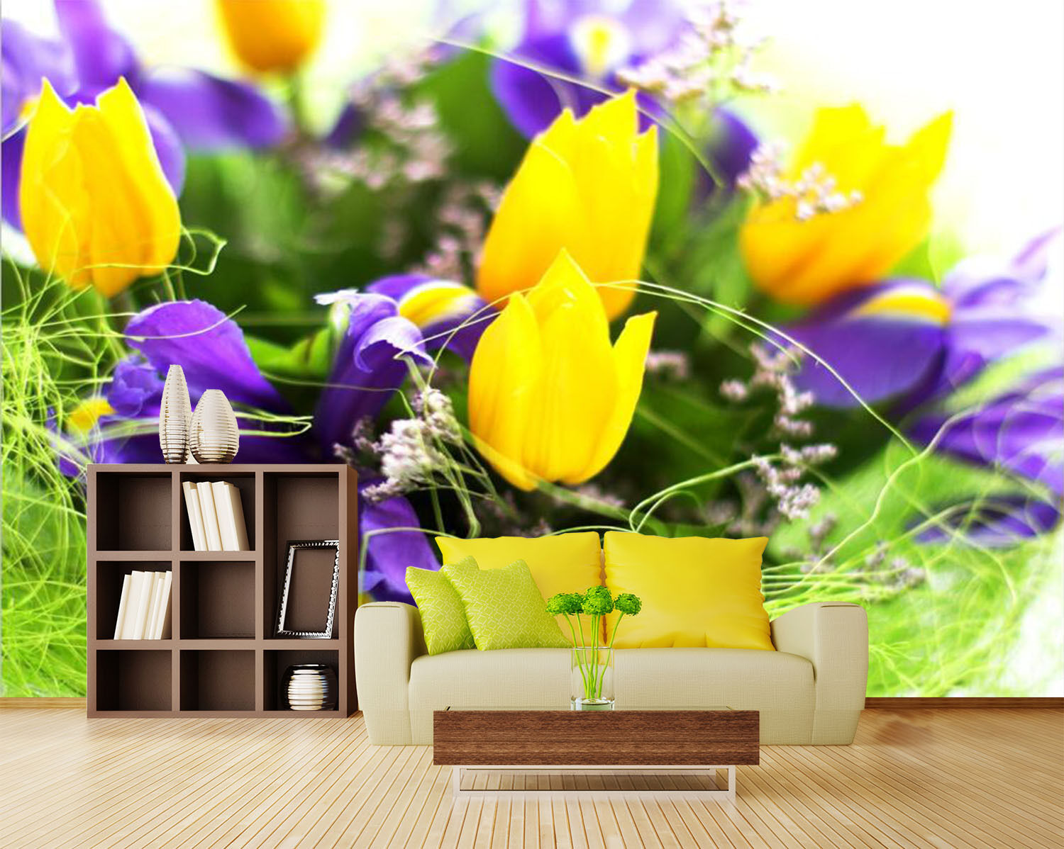 3D Tulipes yellows 4 Photo Papier Peint en Autocollant Murale Plafond Chambre Art
