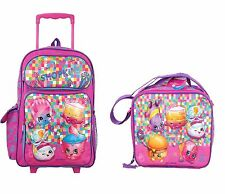 "Global Design Shopkins Girls 16"" Rolling School Backpack Bag w/Lunch Bag"