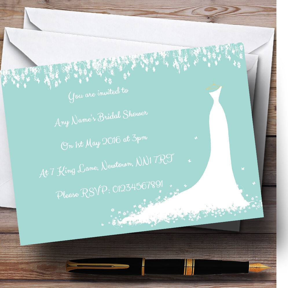 Minimal Turquoise Classic Personalised Bridal Shower Party Invitations