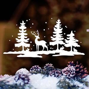 Fensterbild winter wald hirsch reh hase farbe wei 12319 weihnacht aufkleber ebay - Fensterfolie weihnachten ...