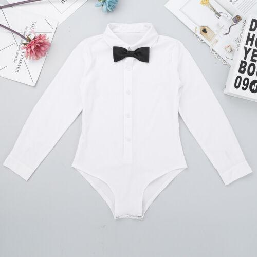 Kids Boys Latin Dance Shirt Romper Top Ballroom Bowtie Party Costume Dancewear