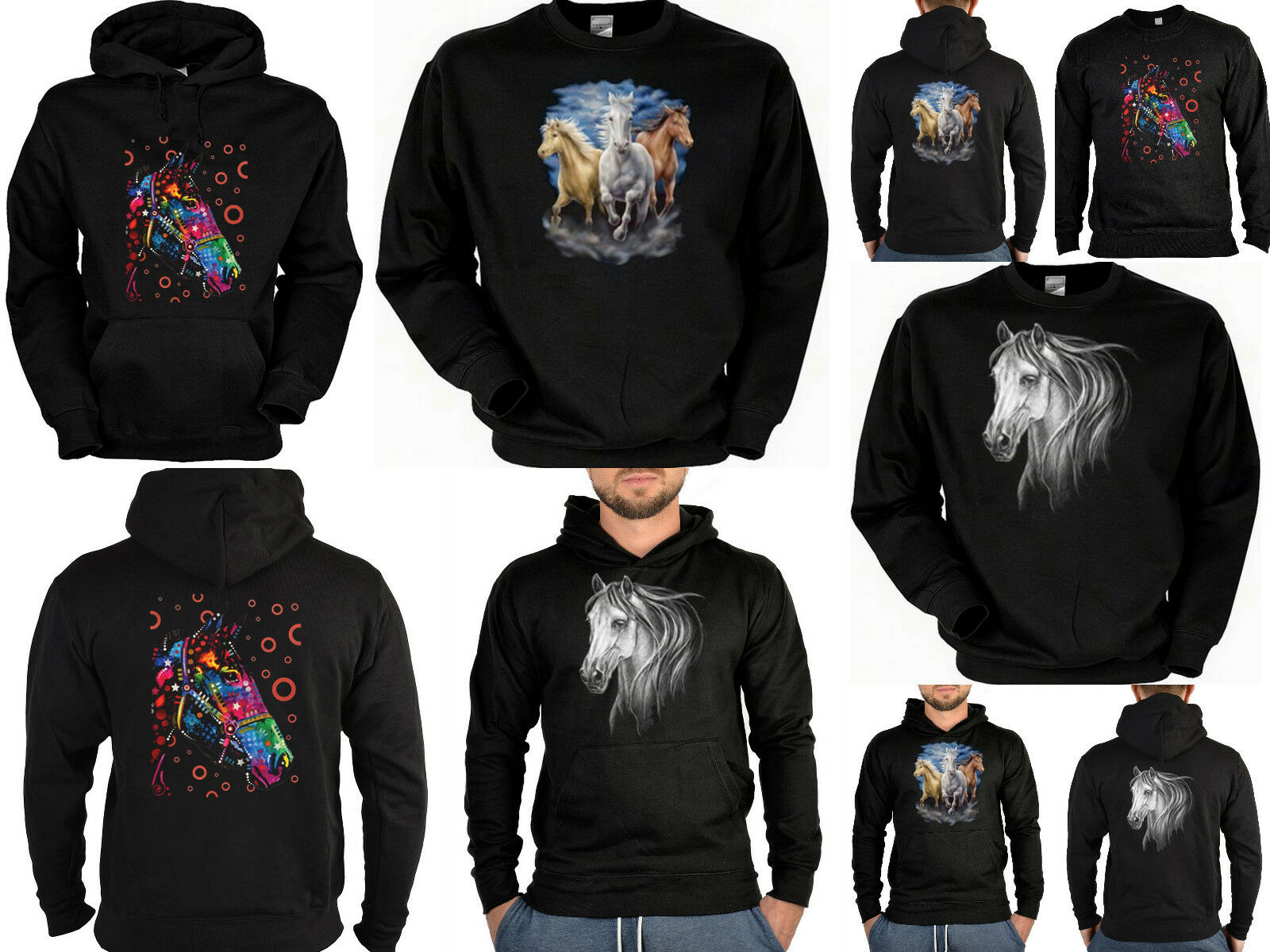 Pferde Sweater - Kapuzensweater - Zip Hoodie Neon Pferd Motiv Pferdemotiv Pulli