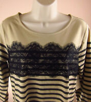 Coldwater Creek Large Top Shirt Beige Lace Stripe 3/4 Sleeve Cotton