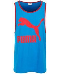Puma-Mens-T-Shirt-Red-Blue-Size-Medium-M-Tank-Top-Classic-Fit-Logo-Contrast-044