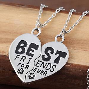 Image Is Loading Best Friends Forever Broken Heart Flower Friendship Pendant