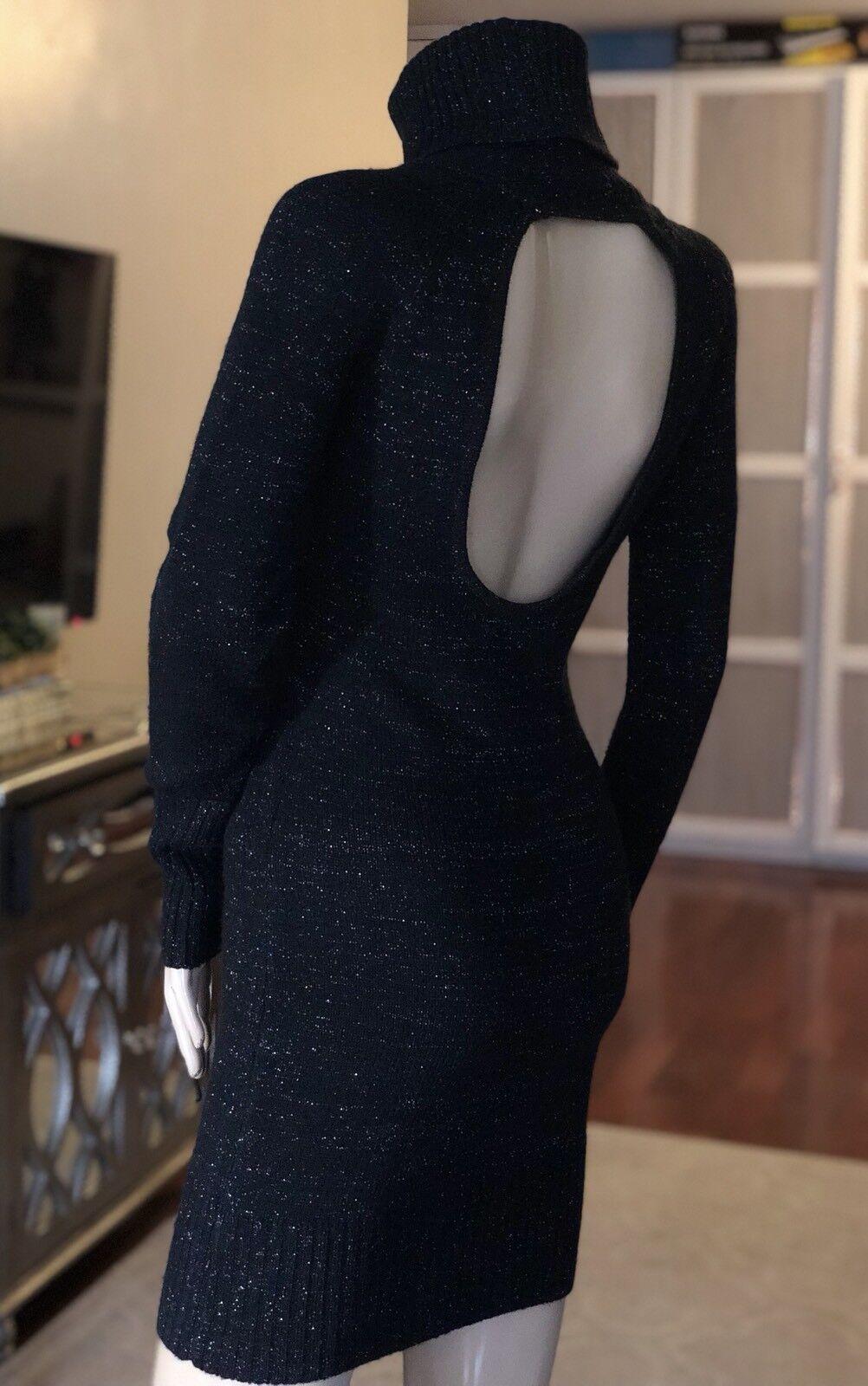 Lana de Punto Negro GIVENCHY Lurex Cuello De Tortuga  Vestido XS  tienda en linea