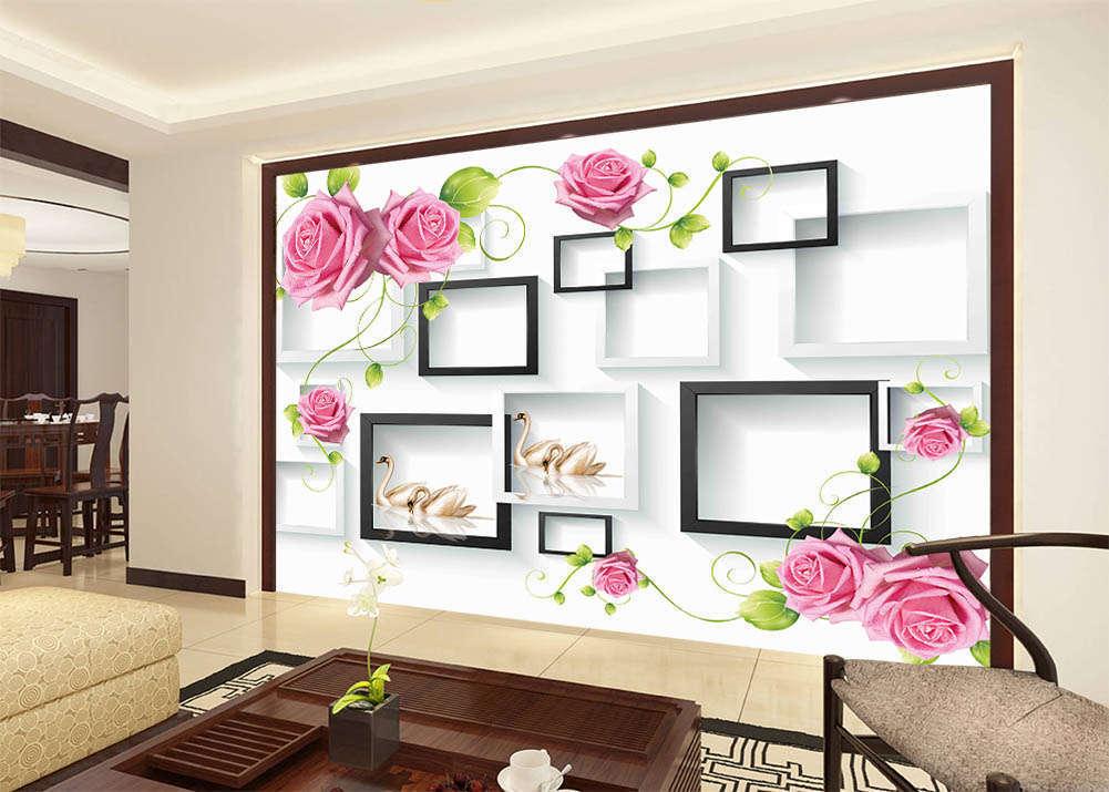 Swan Noble Symbol 3D Wall Mural Wallpaper Printing Home Kids