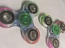 Lot 2 Fidget Hand Spinner Rainbow Trasparent Fidgit Spinner USA SELLER FREE SHIP
