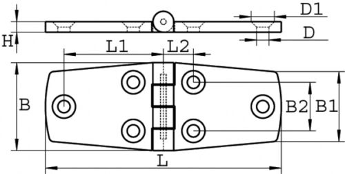 Scharnier Edelstahl A4 102 X 38  Feinguss poliert ARBO-INOX