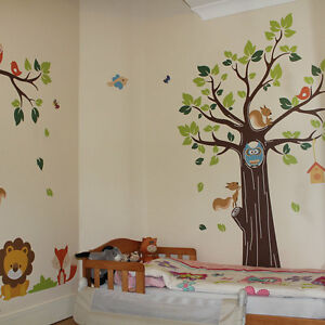Kids jungle nursery tree animals birds owl vinyl wall for Bird and owl tree wall mural set
