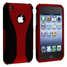 RED BLACK SNAP-ON 3-PIECE HARD CUP SHAPE CASE COVER for APPLE iPHONE 3G S 3GS