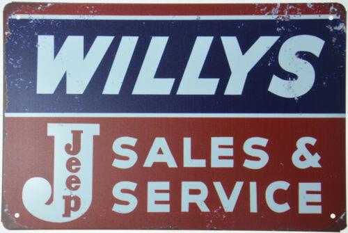 "WILLYS JEEP Motor Sales Service Garage Parts Metal Tin Sign Mechanic 12x8/"" NEW"