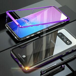 Pour-Samsung-S8-S9-S10-Plus-Magnetique-Metal-housse-Verre-trempe-coque-Bumper