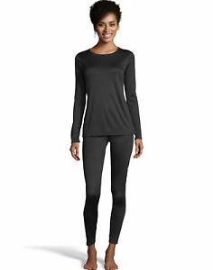 Thermal Set Top & Pants Warm & Cuddly by Cuddl Duds Women's Poly Lightweight