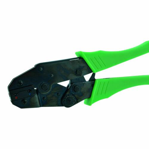 Crimpzange isolierte Flachsteckhülsen 0,5mm² 2,5mm² seitlicher Anschluss