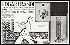 PUBLICITE   EDGAR BRANDT DESIGN  ART DECO  AD  1928 - 2H