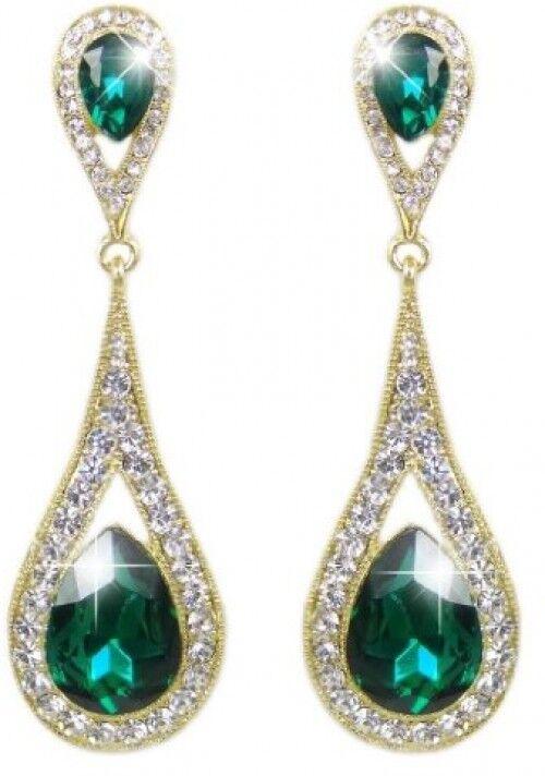 EVER FAITH Women's Austrian Crystal Elegant Dual Teardrop Pierced Dangle color