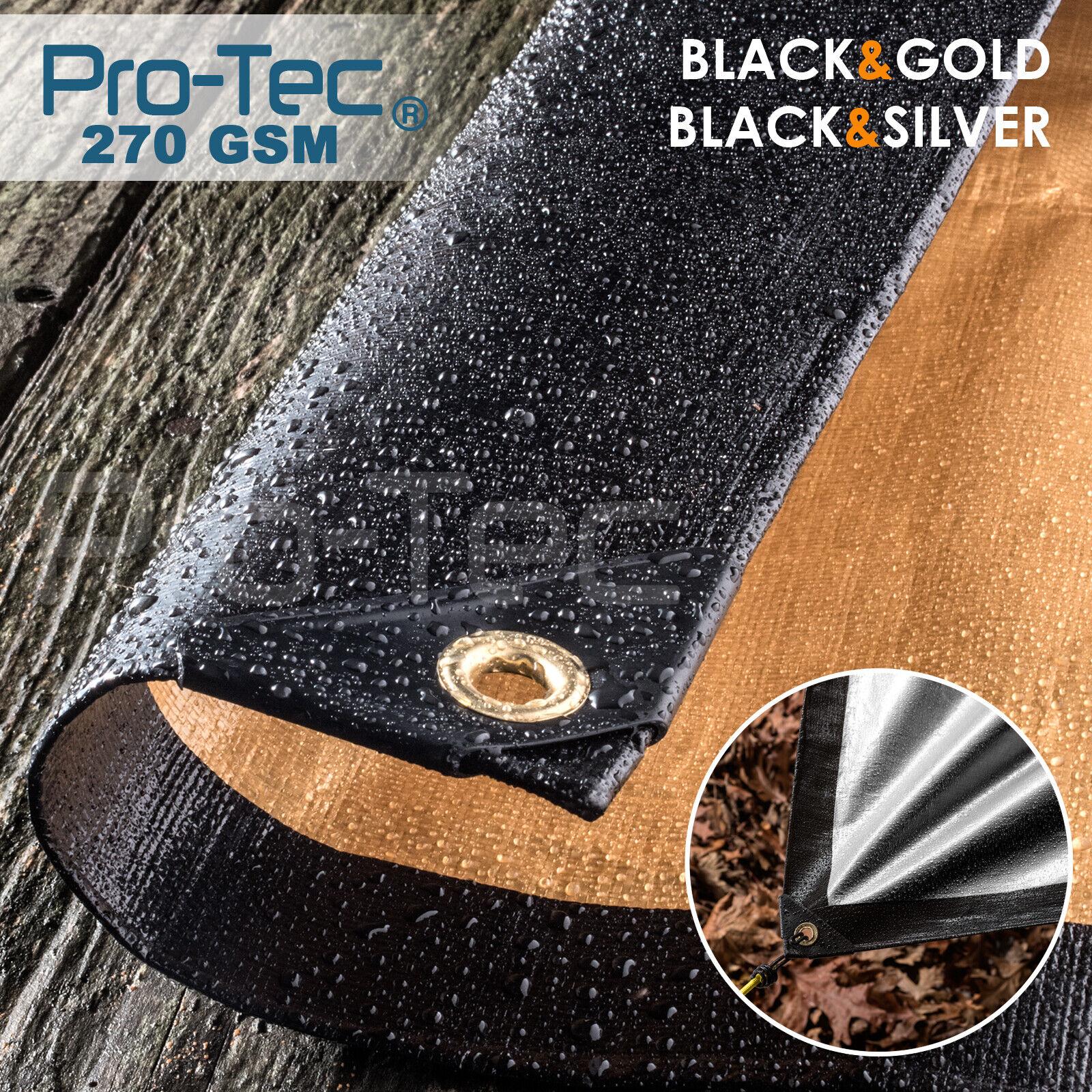 270GSM Tarpaulin Extra Heavy Duty Builders Waterproof Ground Sheet Cover Black